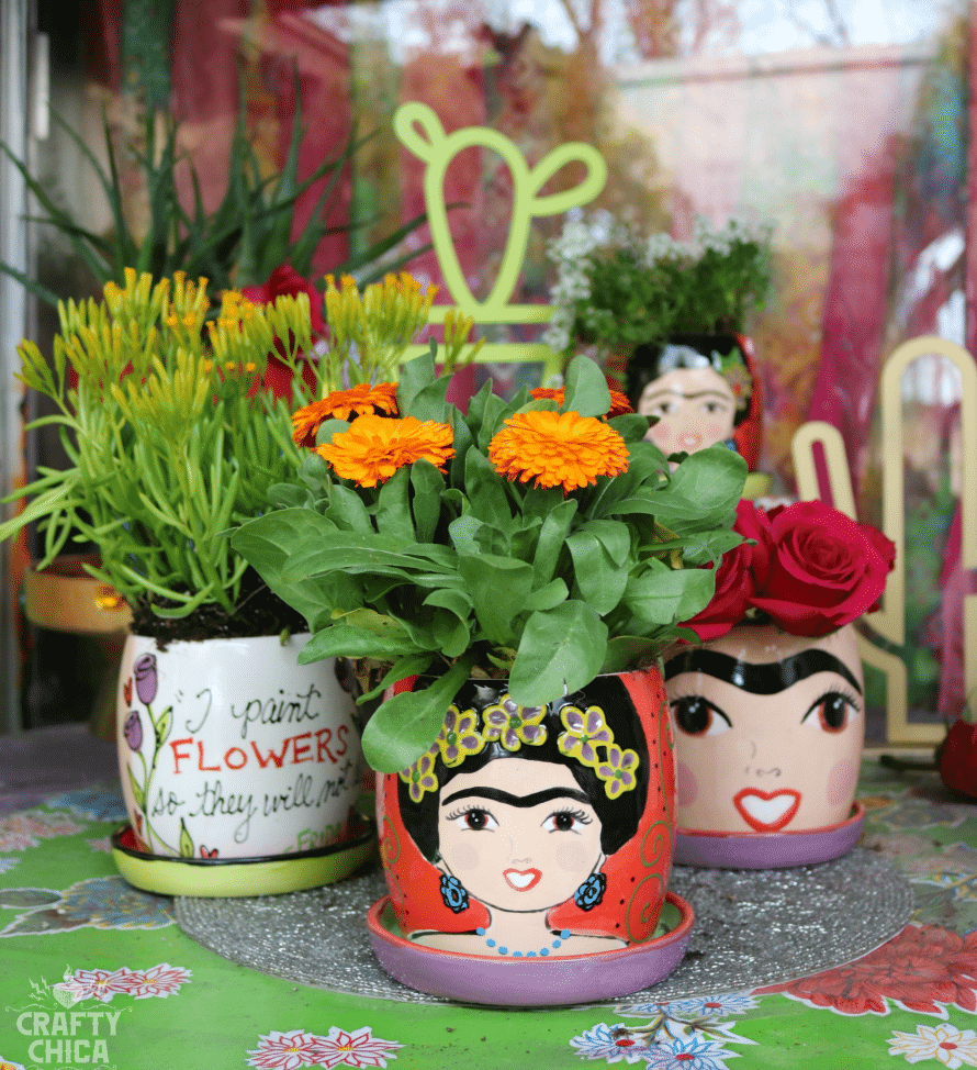 Vibrantly Colored Art Inspired Ceramic Flower Pots