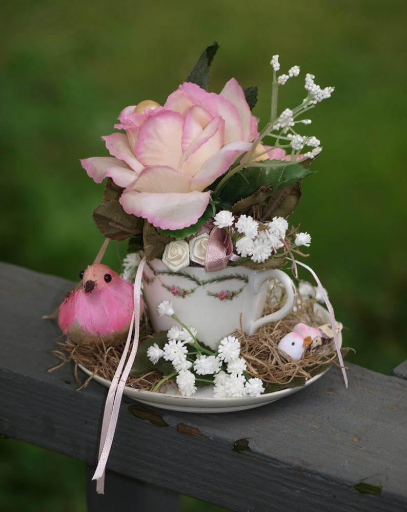 Tea Cup and Saucer Bird Babies in Nest