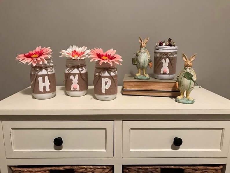 """Hop"" Easter Mason Bunny Jar"
