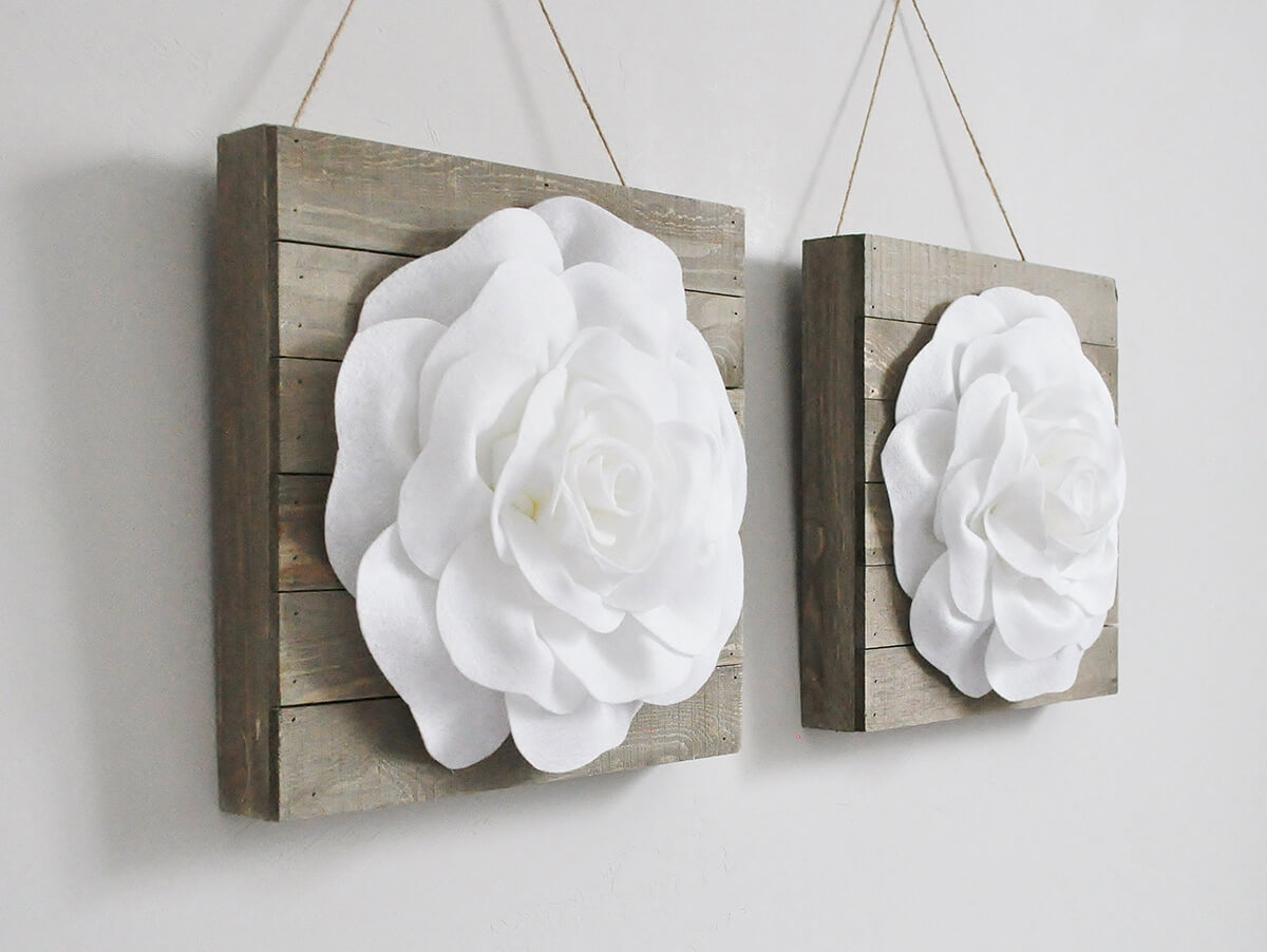 Pallet Box with Flower Blossom Hanging Wall Art