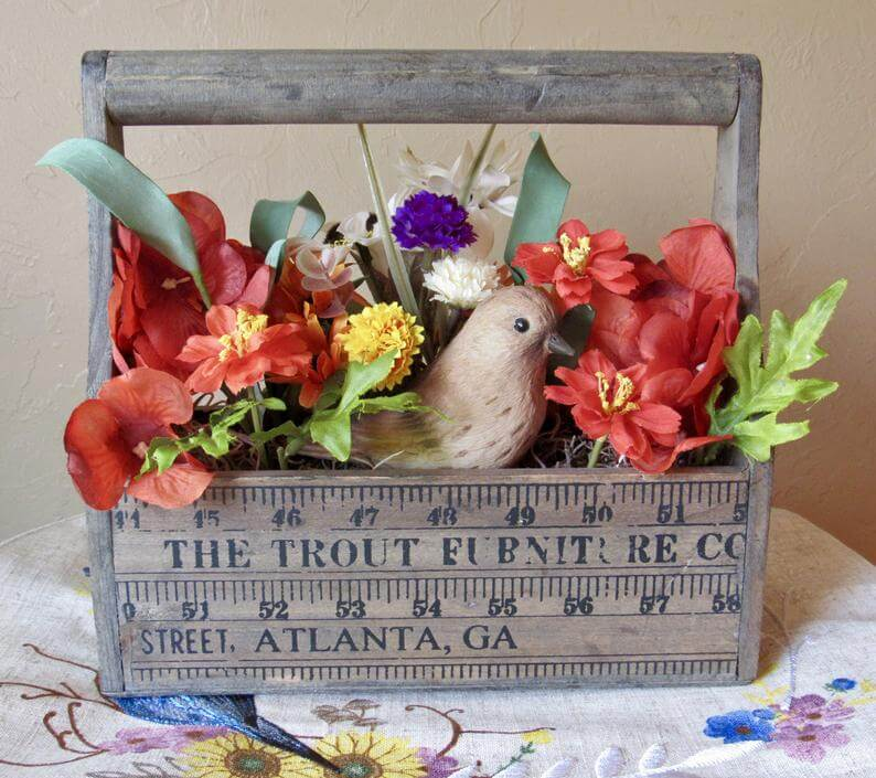 Wooden Tool Case Filled with Bird, Nest and Flowers