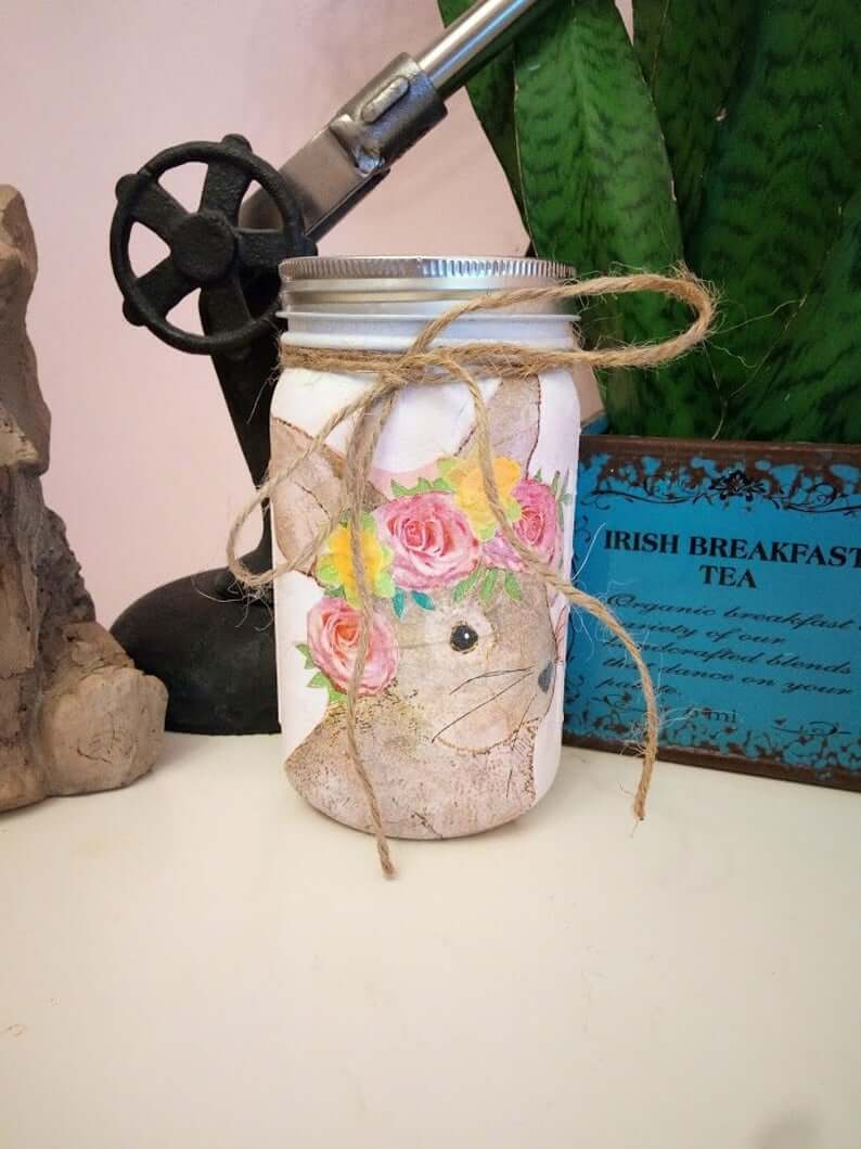 Painted Flower Crown Bunny Mason Jar