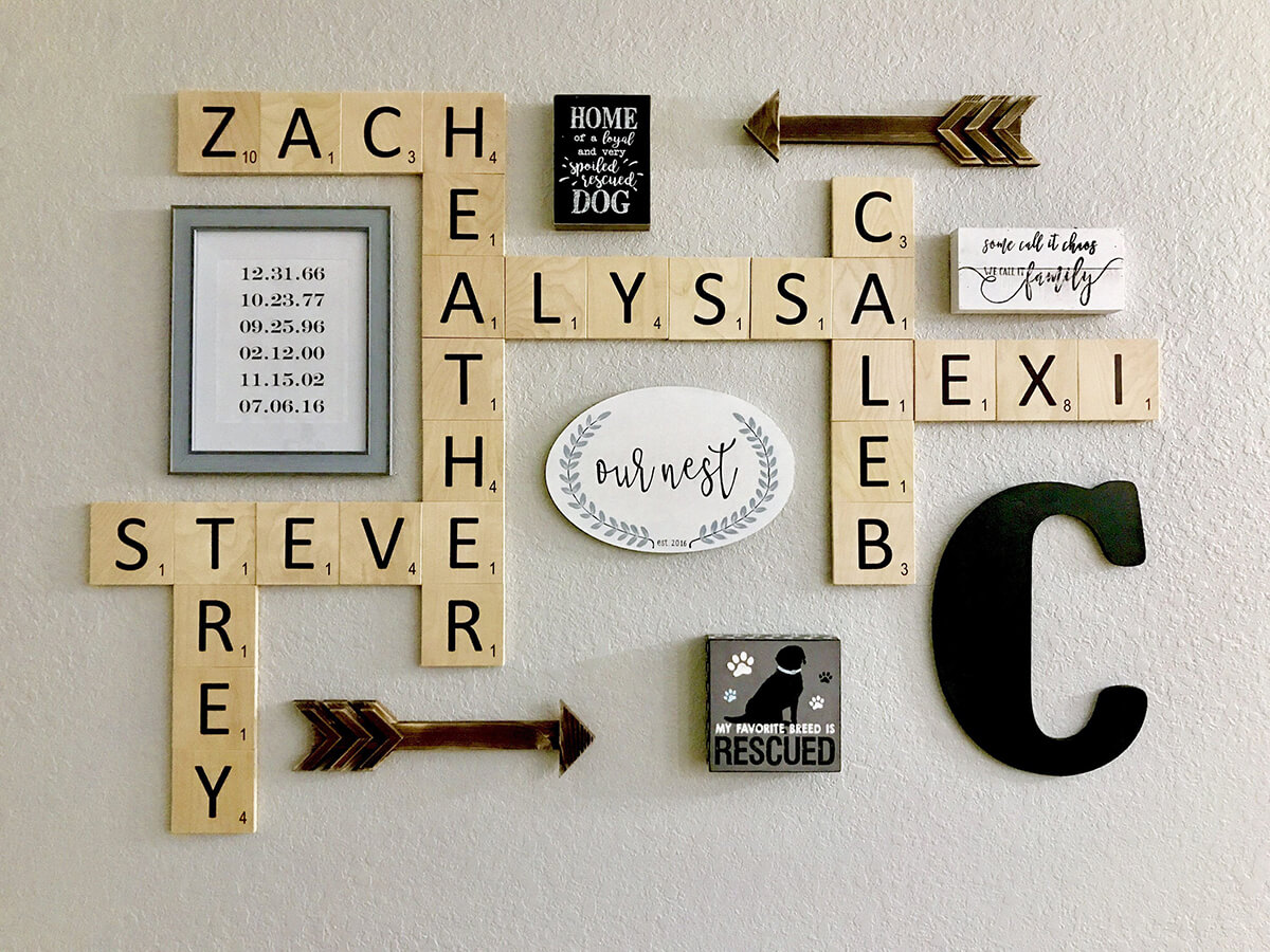 Create Your Family's Awesome Gallery Wall with Letter Tiles