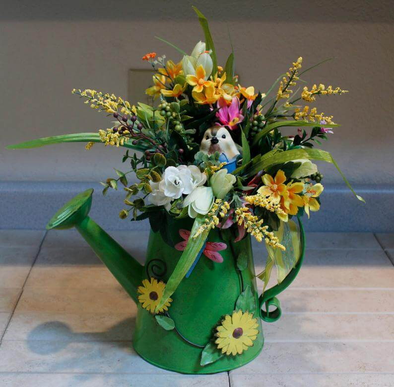 Watering Can with Sunflowers Bird and Spring Bouquet