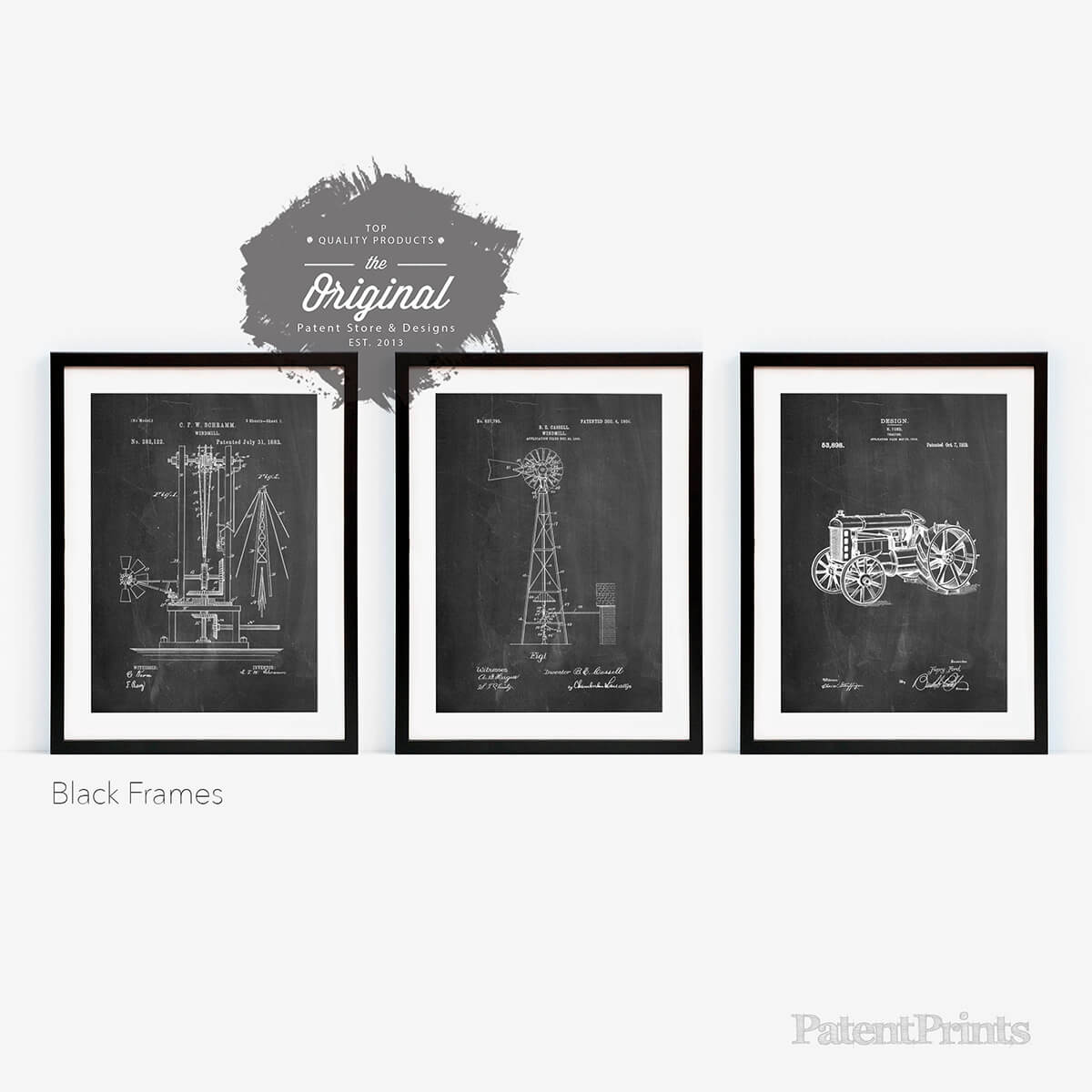 Set of 3 Industrial Farmhouse Black and White Pictures