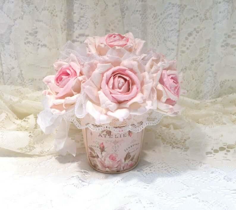 Vintage Vase with Soft Pastel Pink Roses
