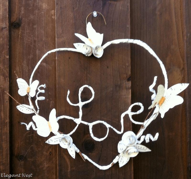 Cute DIY Paper Mache Love Heart Wreath