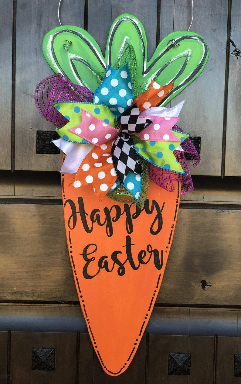 Wooden Carrot Easter Sign Decoration
