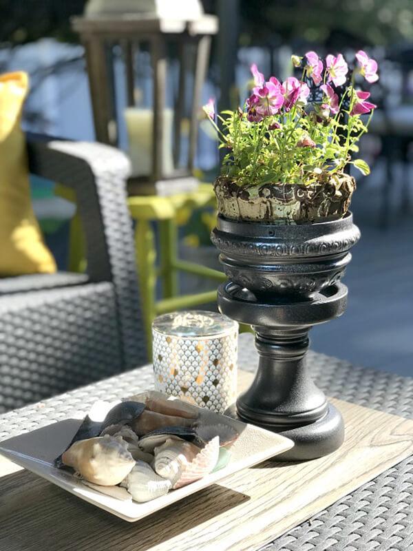 Upcycled Lamp Base Pedestal Planter
