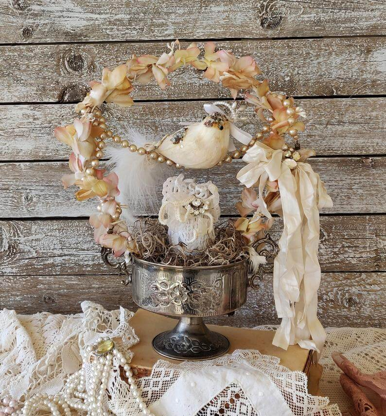 Metal Silver Vintage Bowl on Pedestal with Bird Perched on Pearl Strand