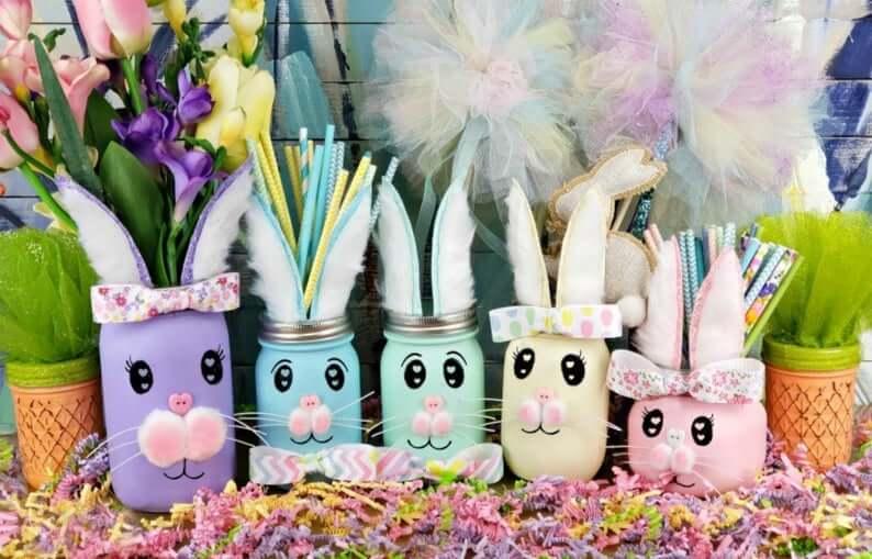 Rainbow Easter Bunny Mason Jar Centerpieces