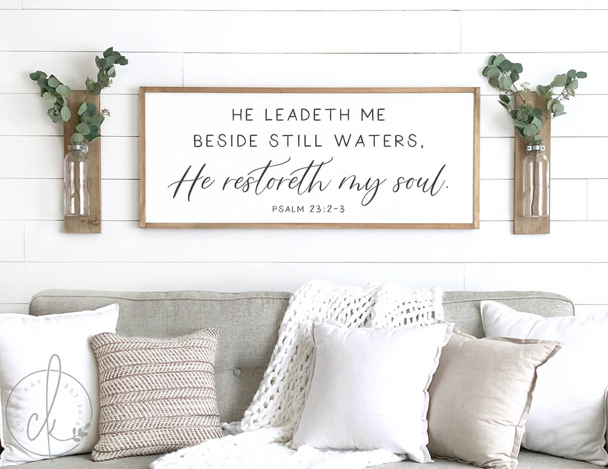 Psalm 23:2-3 Black and White Bible Verse Wall Art