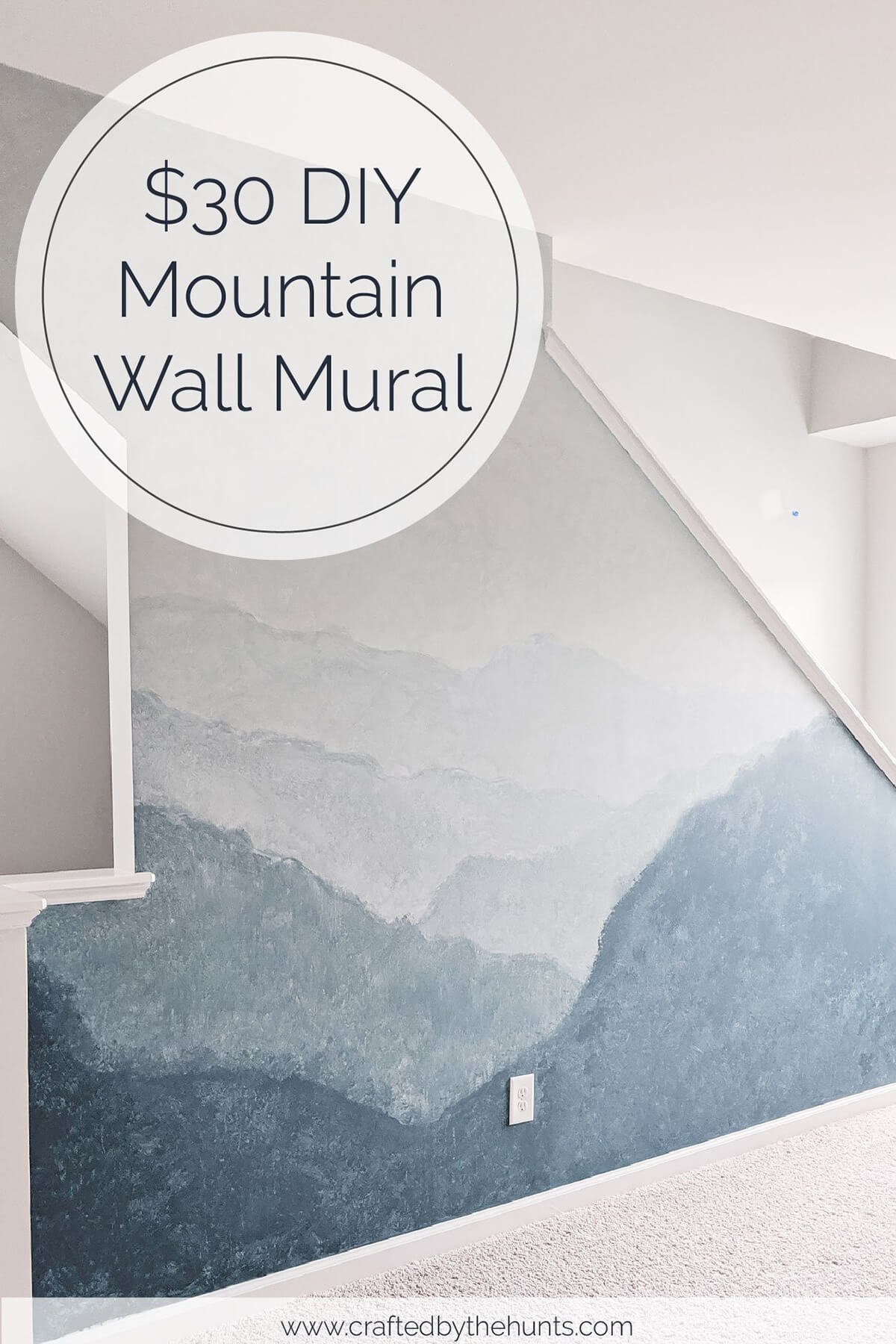 Sponge Painted-Look Ombre Mountain Mural DIY