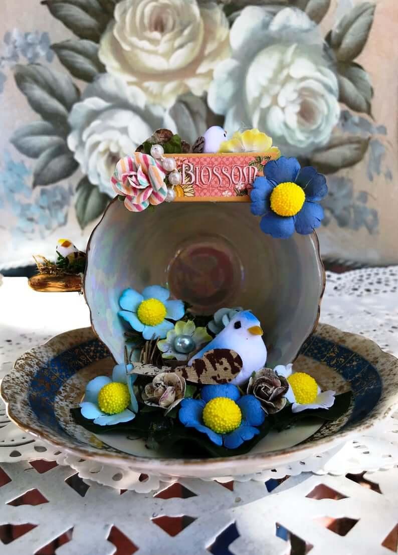 Tea Cup and Saucer Blossom and Blue Bird Flower Set