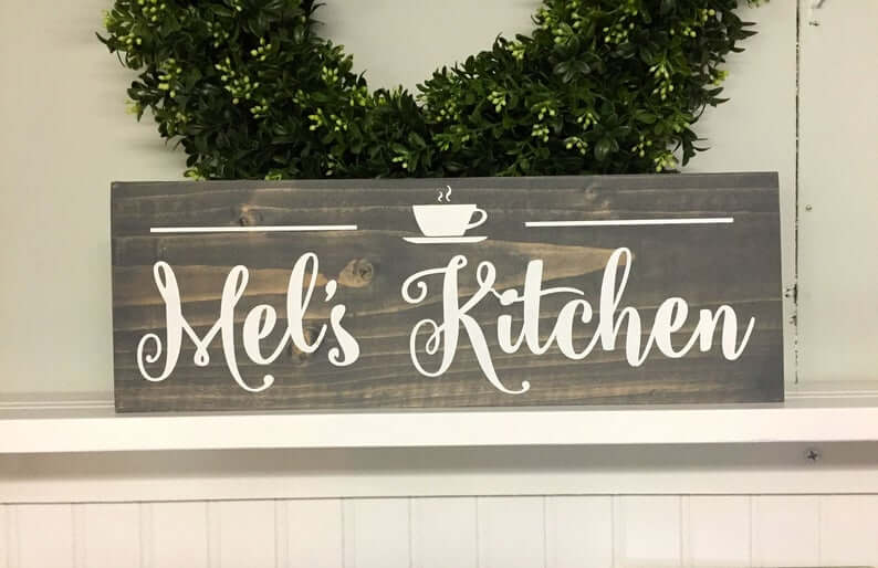 Personalized Stained Wooden Kitchen and Coffee Sign
