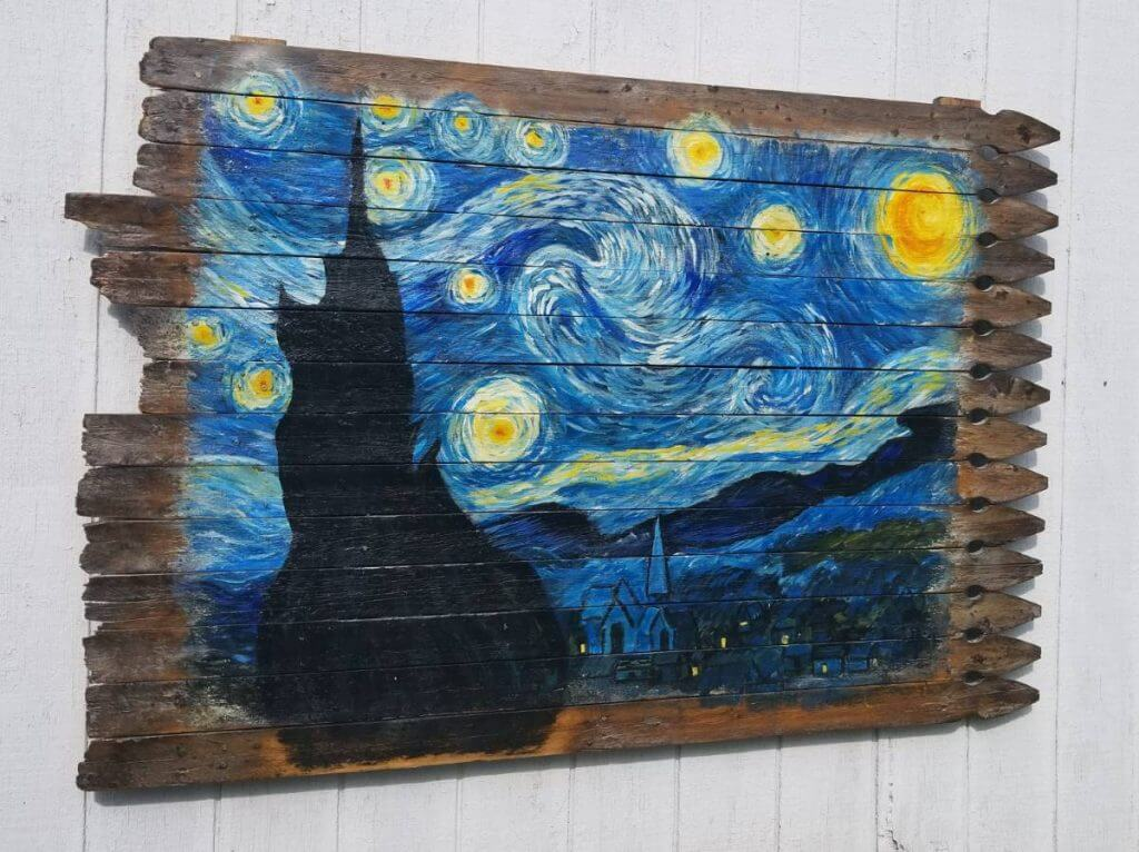 Eclectic Starry Night Re-purposed Fence Wall Art