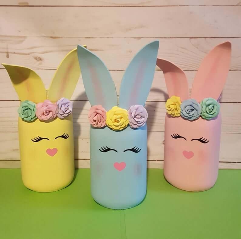 Stunning Floral Easter Bunny Mason Jar Decorations