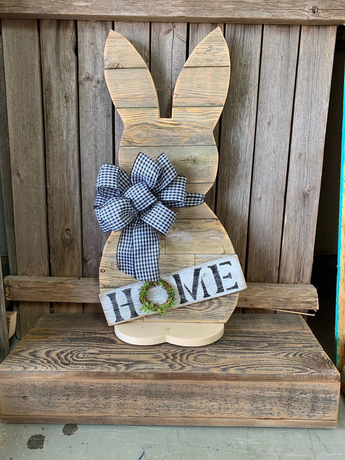 Reclaimed Wood Look Bunny with Buffalo Check