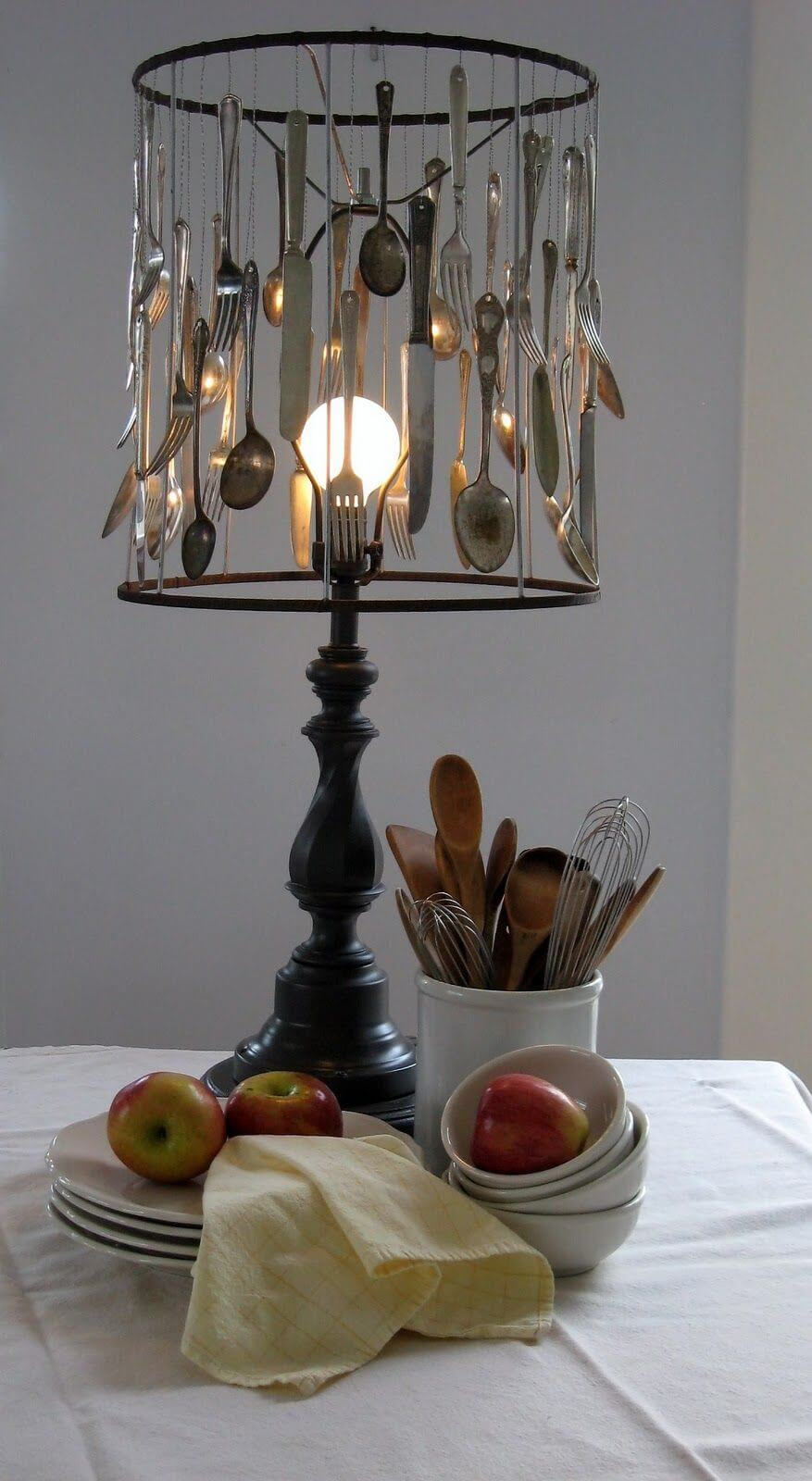 Cool Upcycled Utensil Table Lamp