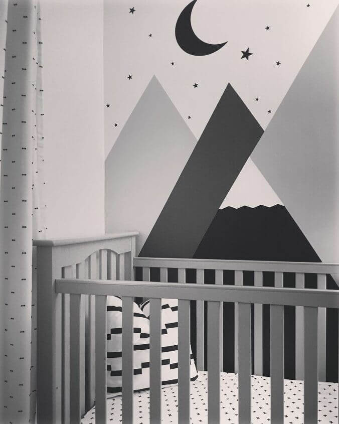 Contemporary Modern Black White and Gray Star Filled Night Nursery Mural
