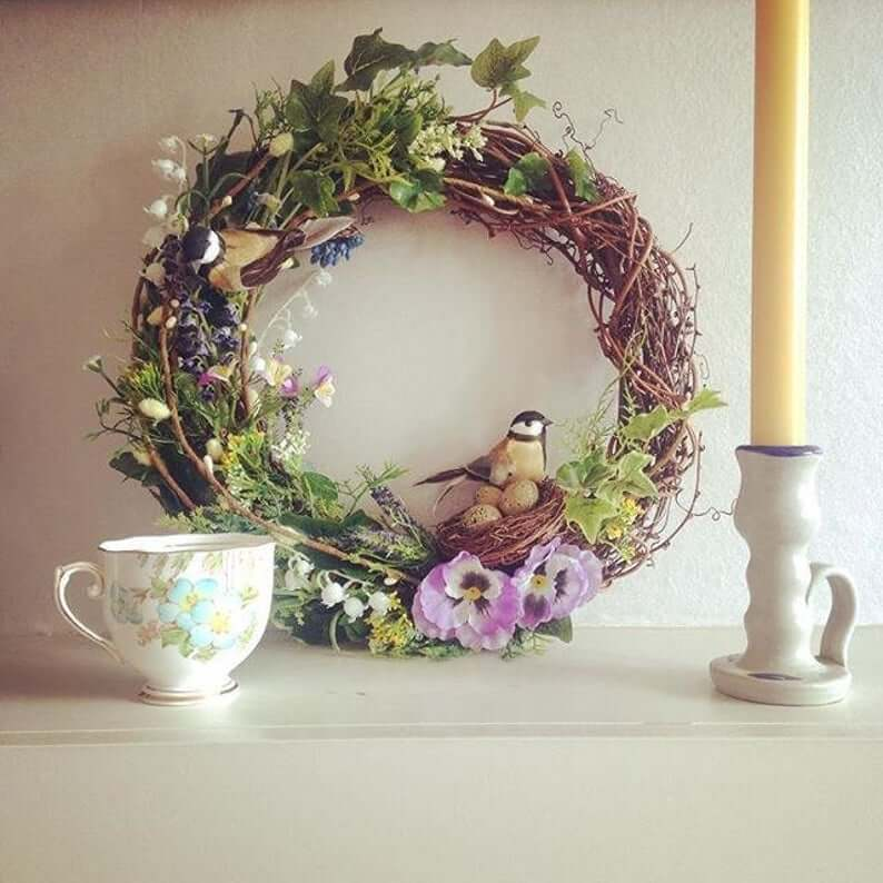 Grapevine Wreath with Birds and Eggs in Nest