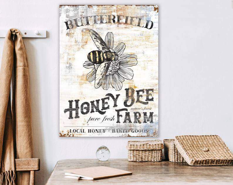 Vintage Honey Bee Farmhouse Wall Art