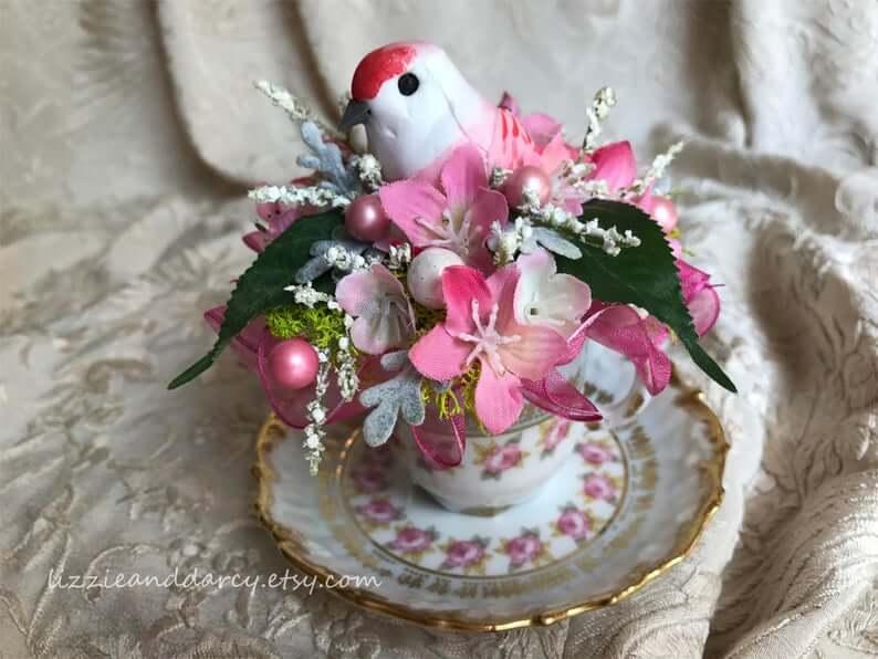 Vintage Victorian Tea Cup with Gold Trim Bird Nest Spring Decor