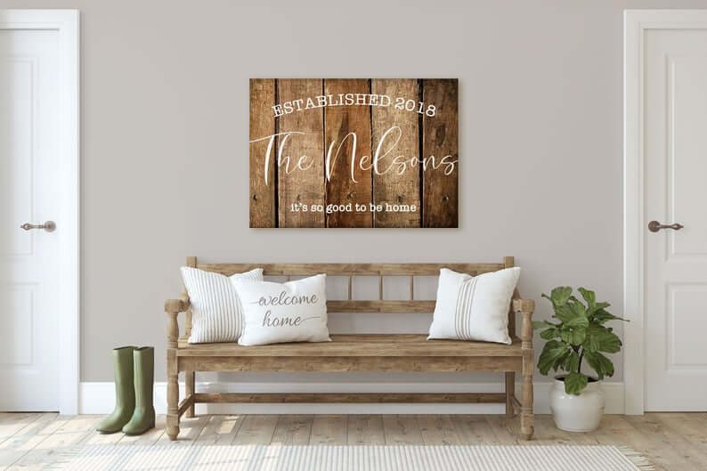Family Home with Date of Establishment Old Wooden Wall Art