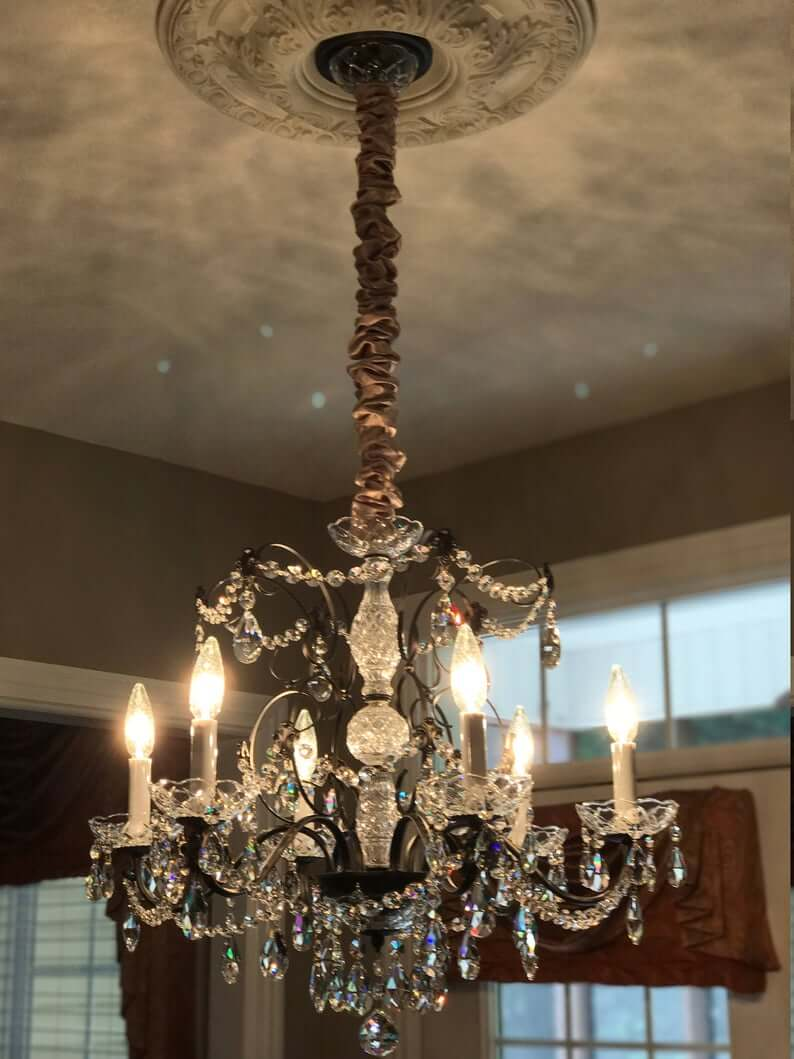 Crystal Chandelier with Bronze Silk Hanging Cord Cover