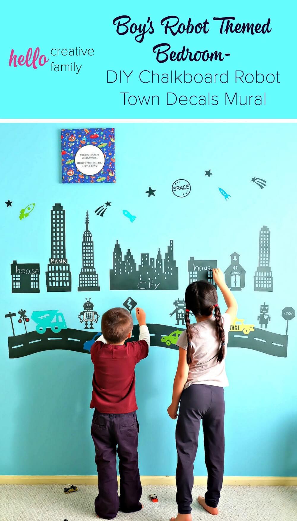 Chalkboard Robot Town Wall Decals Mural