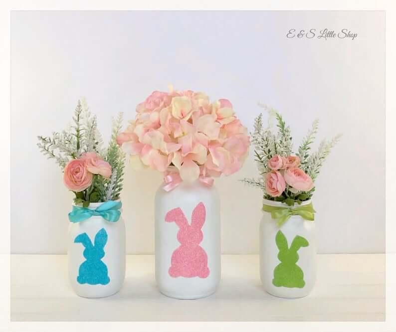 Shabby Chic Easter Mason Jar Centerpieces