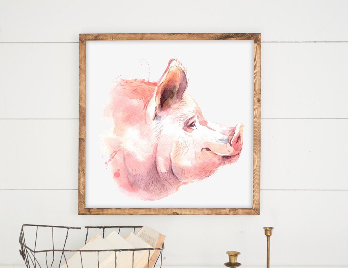 Pink Pig Modern Wall Art