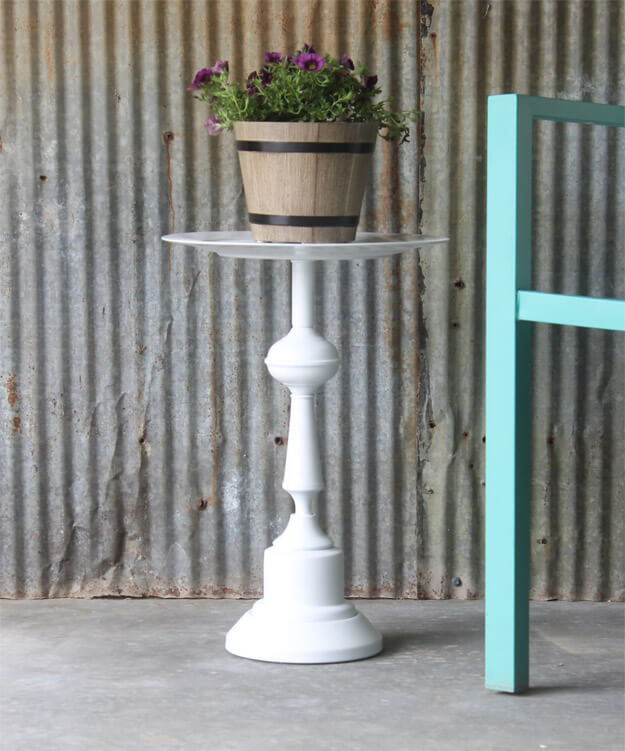 Side Table Upcycled Lamp Base