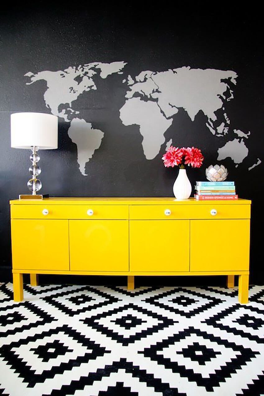 Modern Contemporary World Map Wall Mural