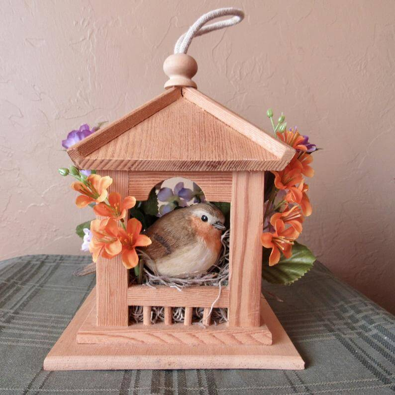 Rough Wooden Bird House with Rope Hook