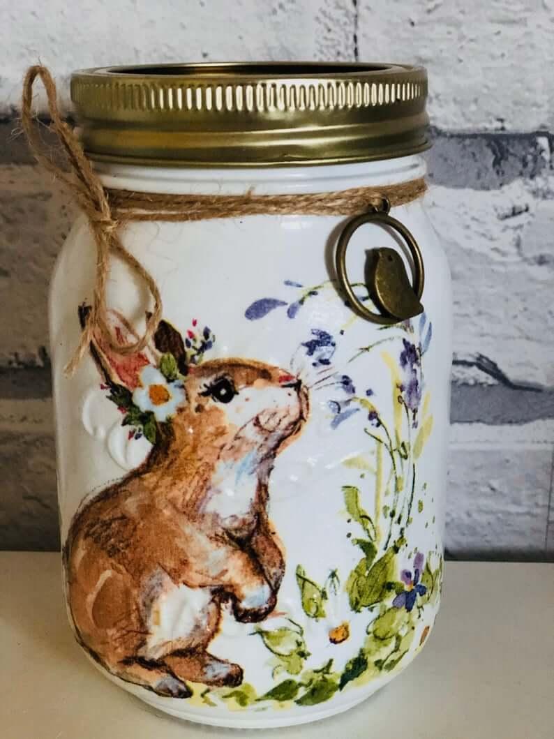 Great Easter Bunny Charm Mason Jar