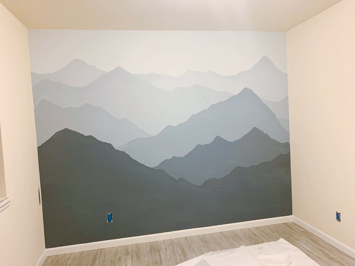 Masculine and Modern Mountain Mural Wall Decor