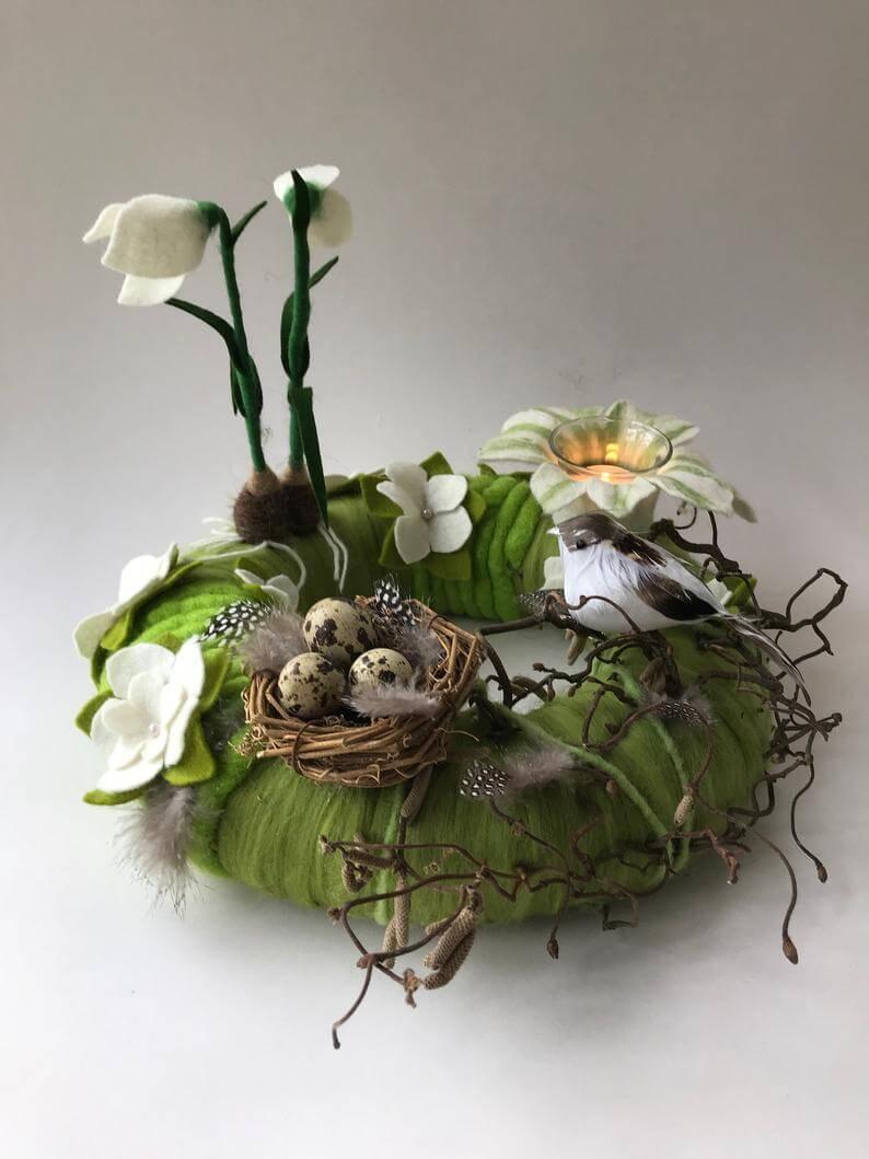 Speckled Eggs Green Nest with Votive Flower Holder
