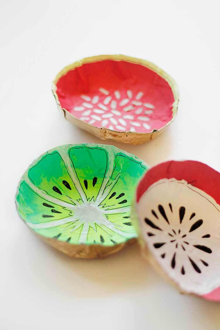 Unique Paper Mache Fruit Bowls