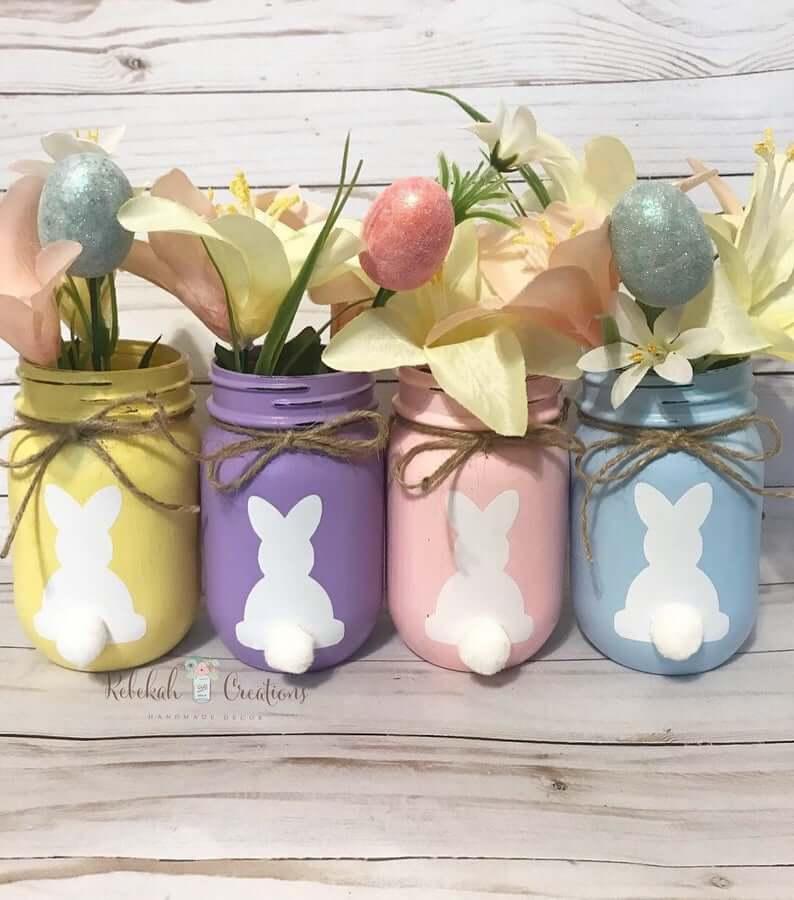 Spring Decorated Bunny Mason Jars