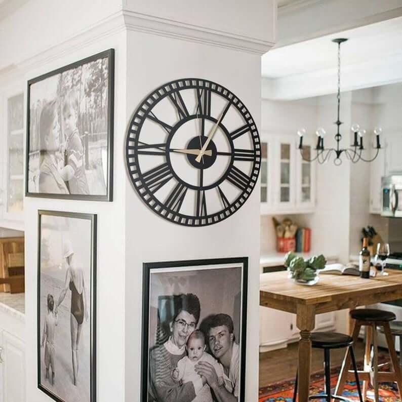 Industrial Art Deco Modern Metal Wall Clock