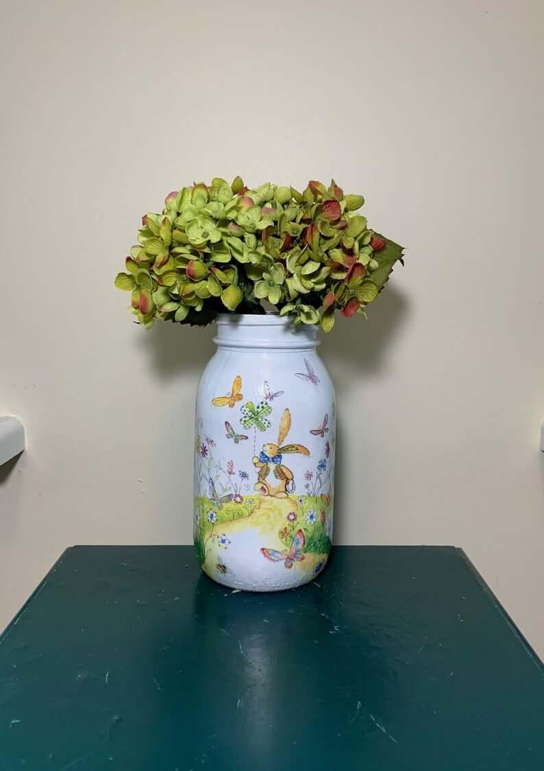 Fanciful Spring Bunny Rabbit Mason Jar
