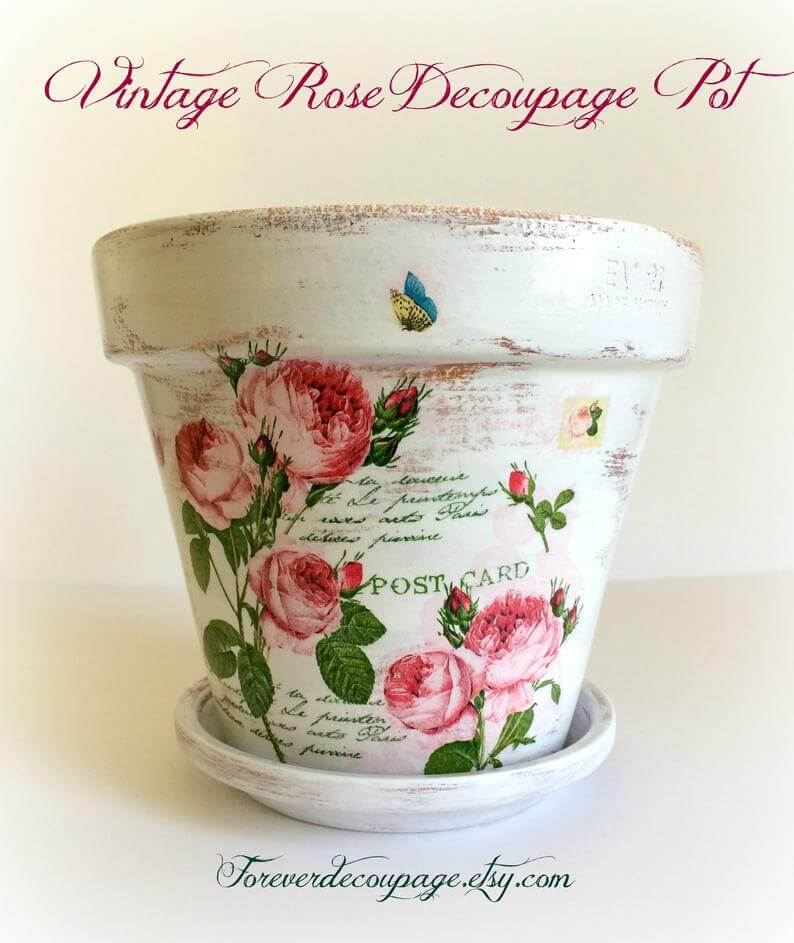 Washed-out White Vintage Postcard Pot