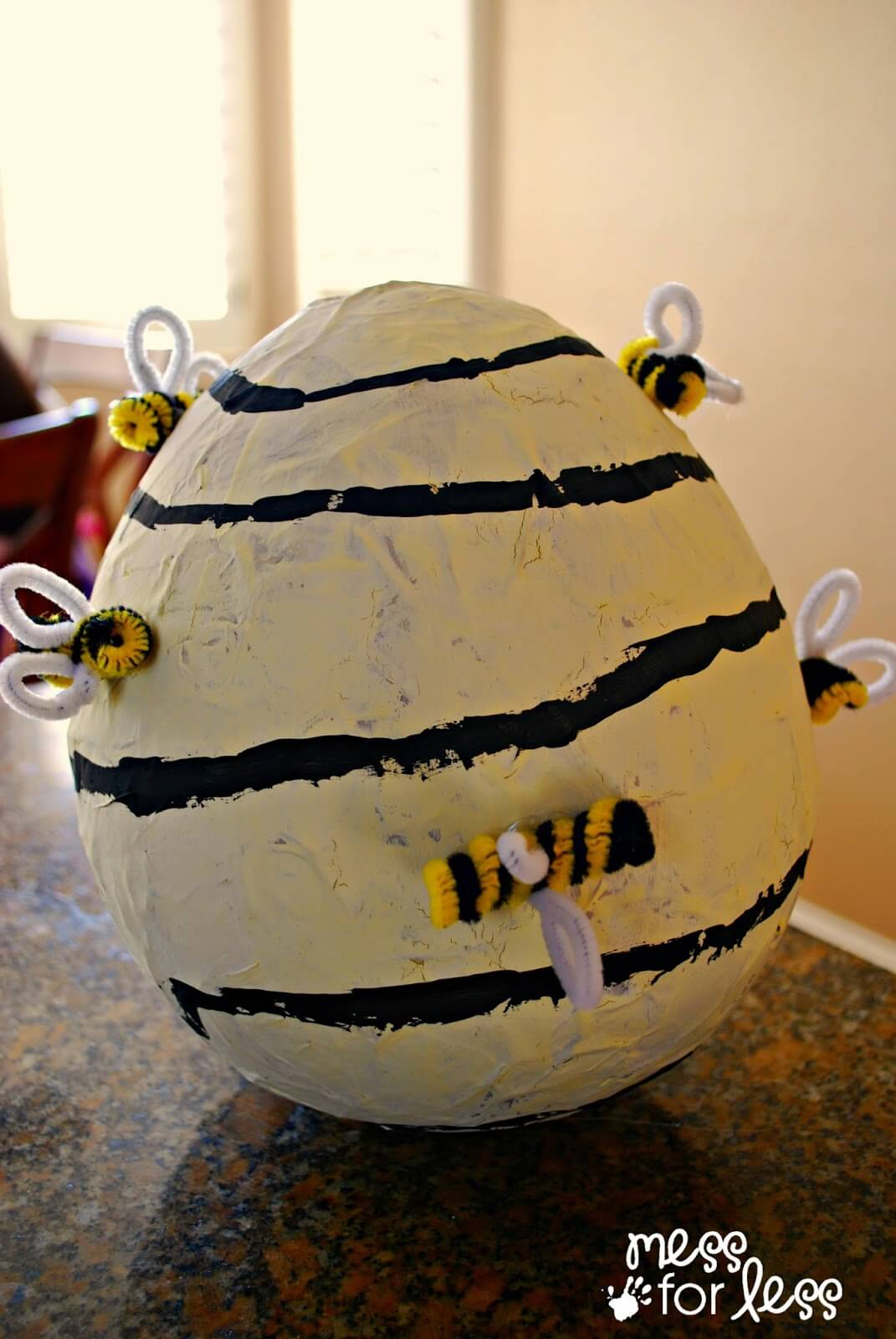 DIY Bee-Covered Paper Mache Beehive