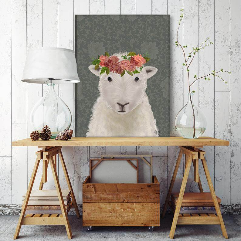 Lamb with Floral Halo Farmhouse Wall Art Print