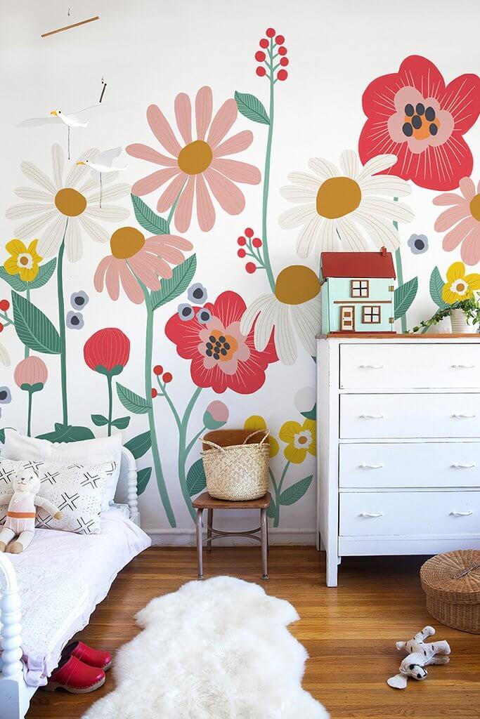Mid-century Modern 70's-inspired Flower Power Garden Wall Mural