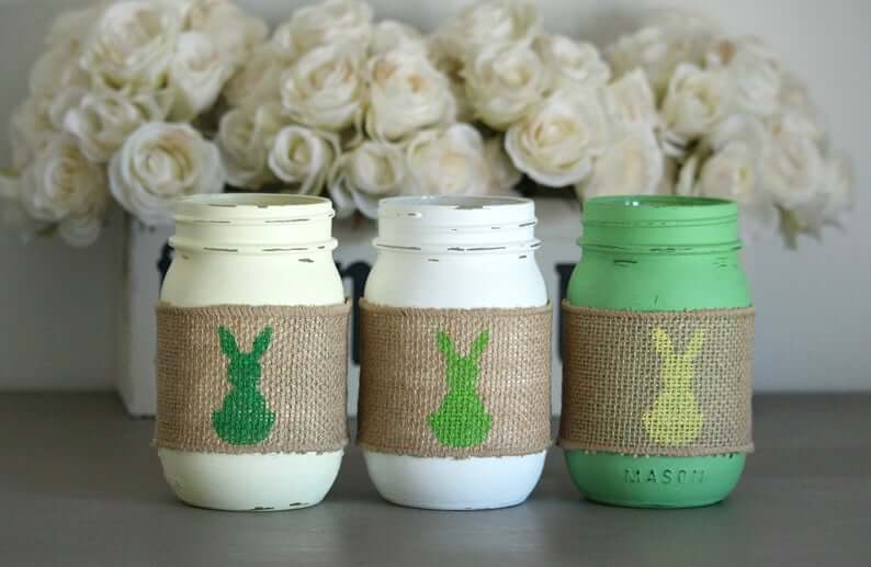 Rustic Easter Mason Jar Table Centerpieces