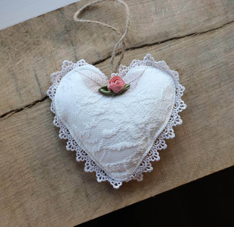 Lace Heart and Miniature Rose Bud Doily-trimmed Sachet