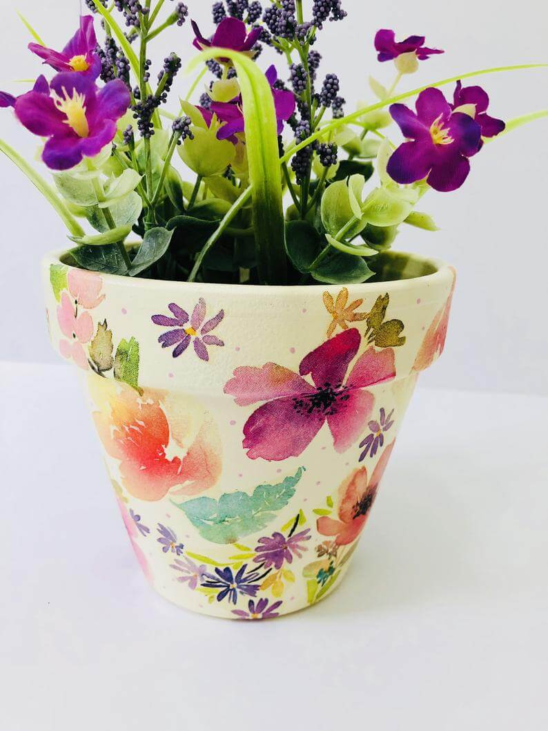 Decoupaged Watercolor Floral Flower Pot