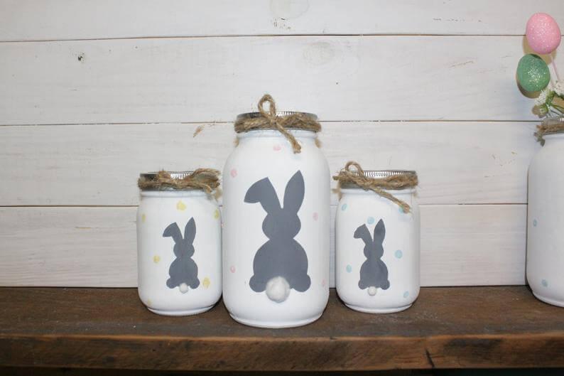 Farmhouse Style Painted Bunny Mason Jars